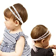 Xinshi Baby Girl Soft Headband Big Flower Petals Newborn Hair Band with Crystal (Pink and White(2pcs))