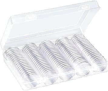 100 Piezas de Cápsulas de Monedas Redondas Funda de Monedas de Plástico con Caja de Organizador de Almacenaje para Materiales de Colección de Monedas (27 mm): Amazon.es: Hogar