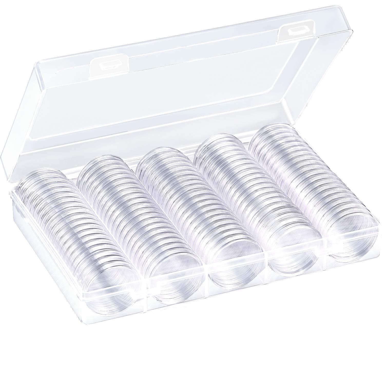 100 Piezas de Cápsulas de Monedas Redondas Funda de Monedas de Plástico con Caja de Organizador