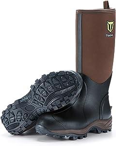 TIDEWE Rubber Neoprene Boots Men and Women, Waterproof Durable 6mm Neoprene Boot, Rain Boot Muck Hunting Boot Arctic Outdoor Boot(Ger‖)