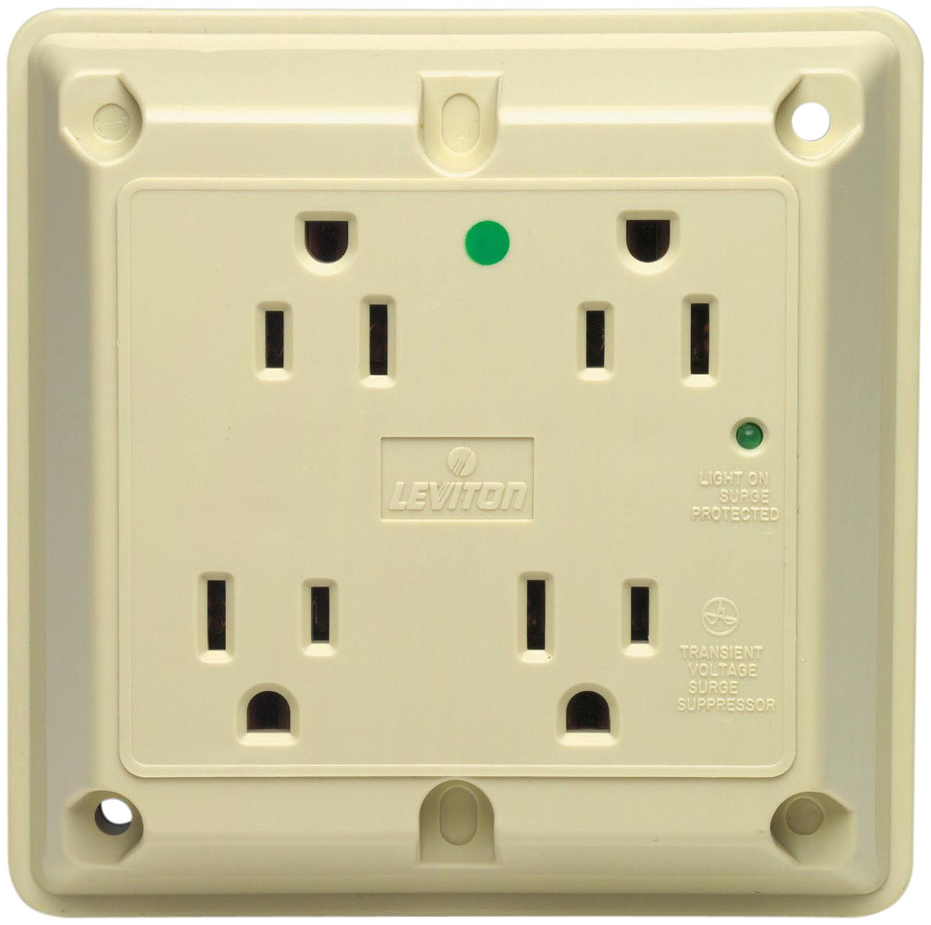 Leviton 8480-I 15 Amp, 125 Volt, 4-In-1 Receptacle, Straight Blade, Industrial Series Extra Heavy Duty Hospital Grade, Grounding, Surge with Indicator Light, Ivory