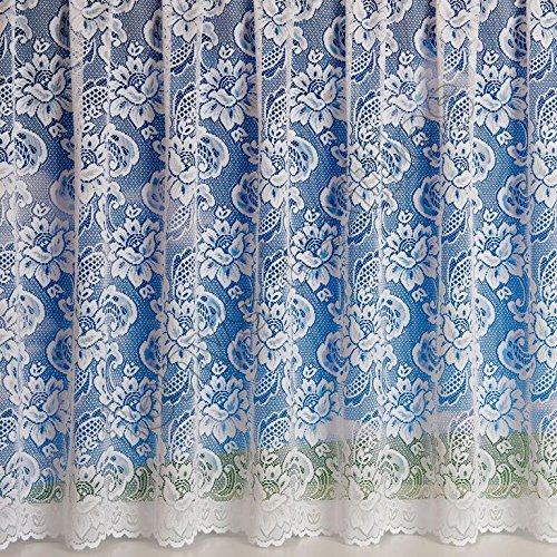 Canterbury Floral White Net Curtain Sold by the Metre (48