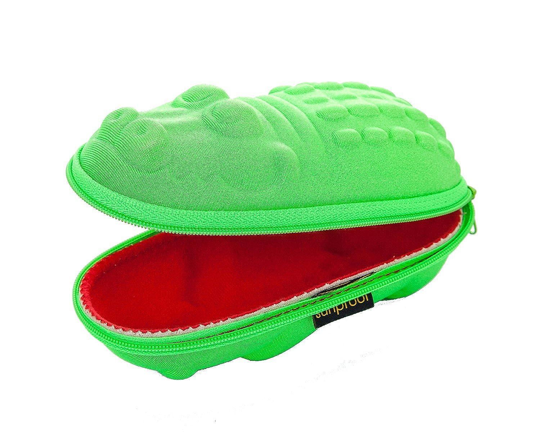 Brillenetuis fur Kinder Grüne Krokodil mit roten Mund Sunproof 0202/crocodile