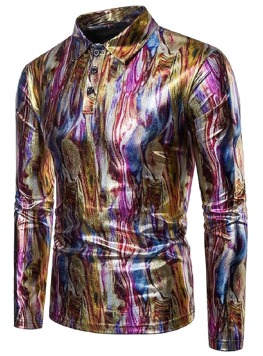 ZXFHZS Mens Classic Rock Style Long Sleeve Colorful Metallic Polo Shirts Clubwear