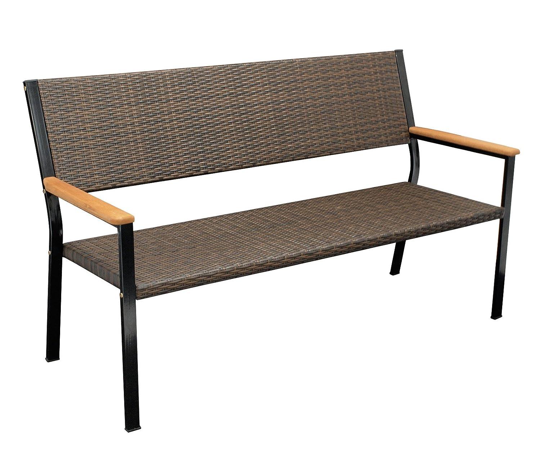 DEGAMO Gartenbank CLIFTON 3-sitzer, Metallgestell + Geflecht braun, Armlehnen Eukalyptus