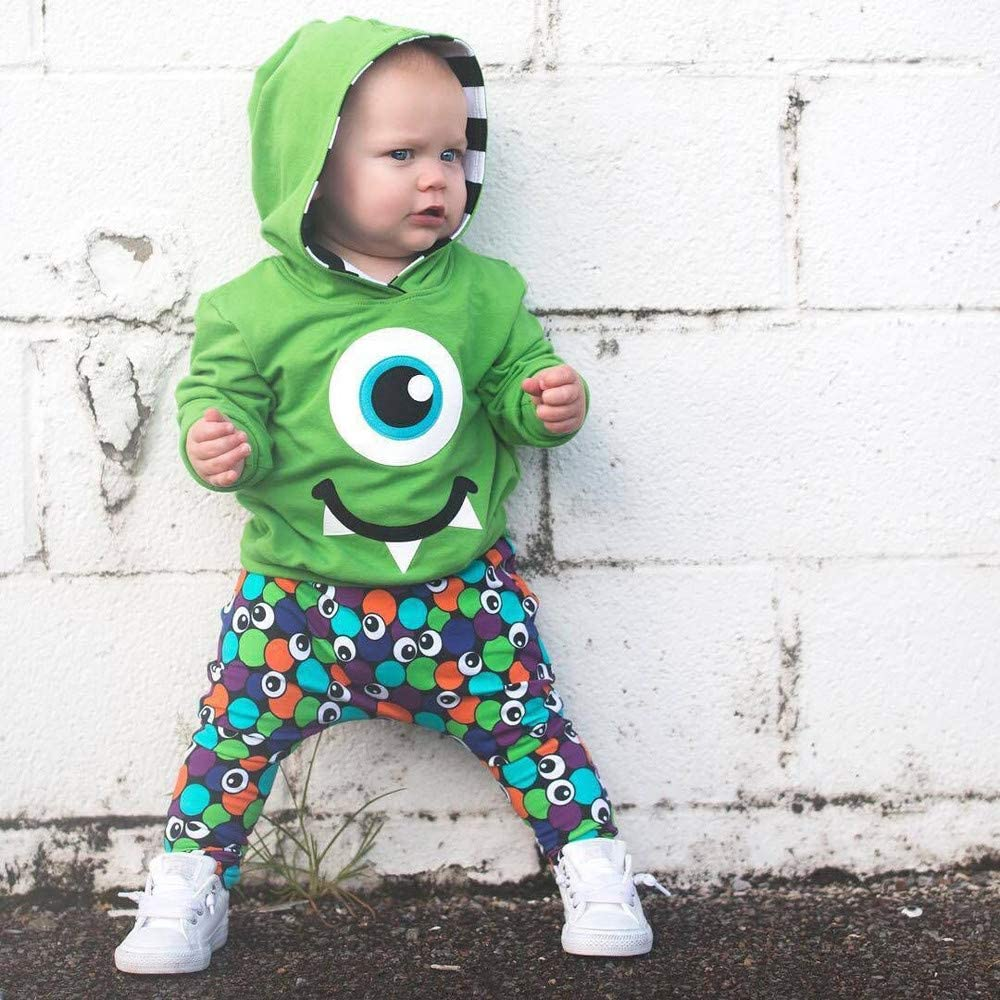 BURFLY Toddler Tracksuits Kids Outfit Clothing Set for 0-4 Years Boys Girls Baby Cartoon Cute Big Eyeballs Printed Hoodie Sweatshirt Tops with Trousers Pants