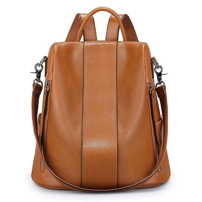 S-ZONE Soft Leather Backpack for Women Antitheft Rucksack Ladies Waterproof Shoulder Bag