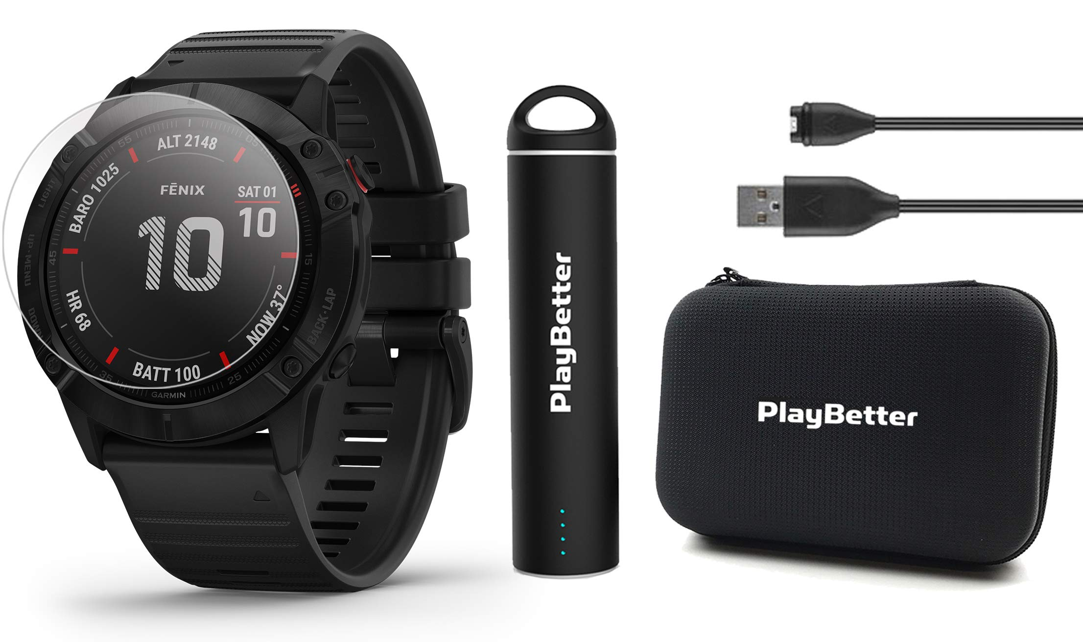 Garmin Fenix 6X Pro (Black with Black Band) Power Bundle with HD Screen Protectors, PlayBetter Portable Charger & Protective Hard Case | 2019 | PulseOx, ClimbPro, Maps, PacePro, Spotify & Music by PlayBetter