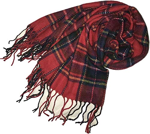 Samanthajane womens Mens Scottish tartan Check Plaid large scarf wrap pashmina shawl Red//Blue