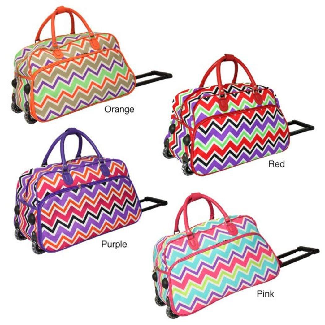 Girls Pink Chevron Duffel Bag, Carry On Luggage, Zig Zag Duffle, Blue Purple   B01NCDYMPV