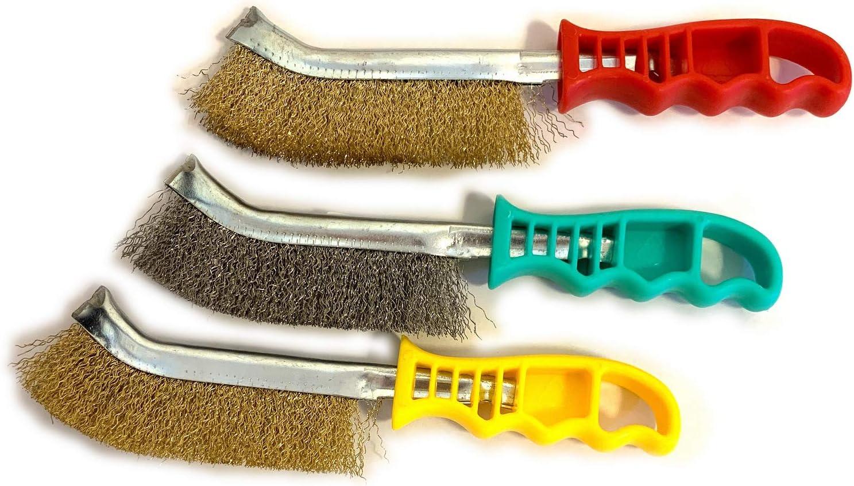 1 brosse acier SKRIB 1 brosse laiton Brossage et nettoyage des surfaces m/étalliques Lot de 3 brosses /à main m/étalliques convexes 1 brosse PVC Kibros 3LOTSPIV2