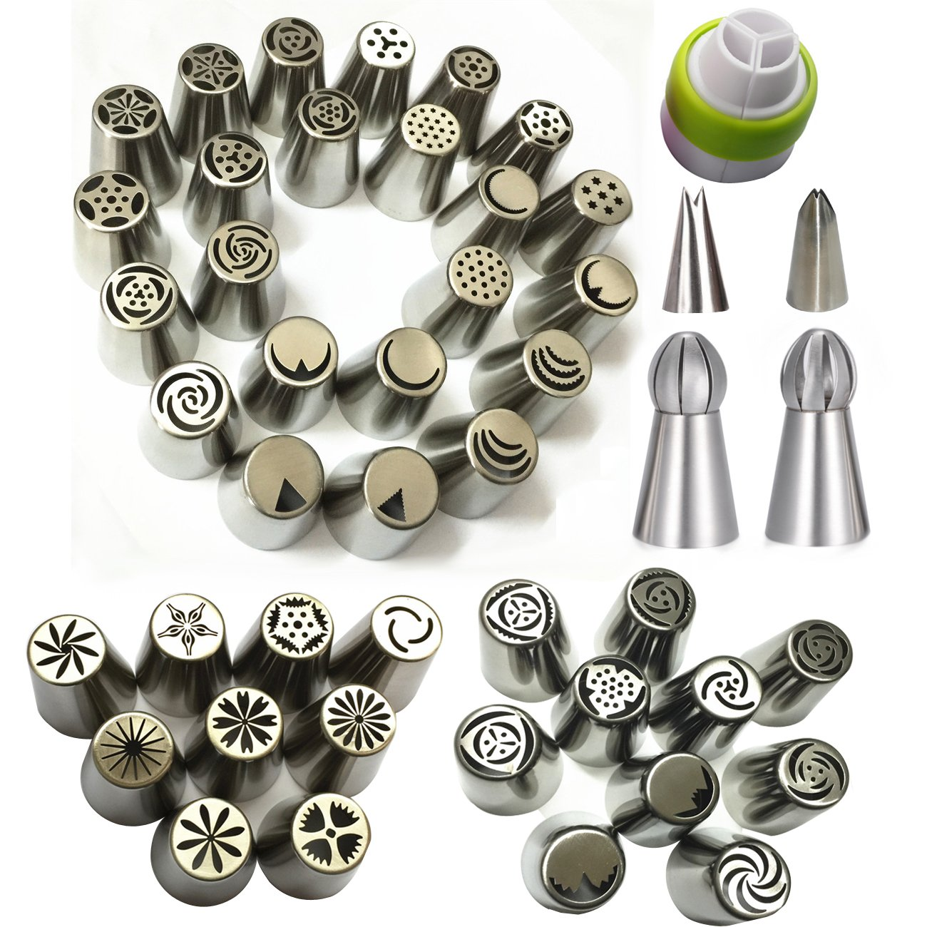 Russian Piping Tips 46 Pcs Set - KOOTIPS Cake/Cupcake Decorating Icing Tips - 41 Extra Large Stainless Steel Pastry Nozzle Tips and 2 Leaf Tips, 1 XL Coupler and 2 Ball Ice Tips