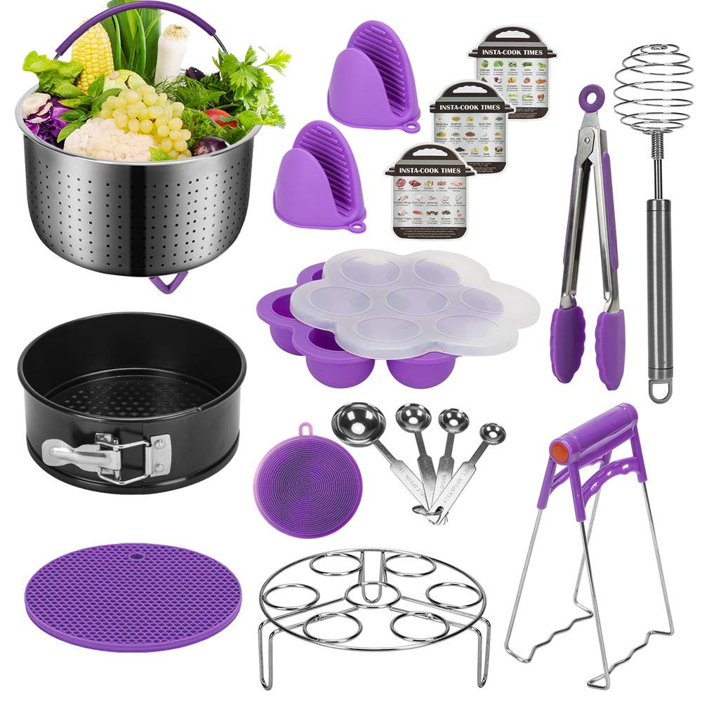 Accessories for Instant Pot Compatible with 6,8 Qt, Ninja Foodi 8qt - Stainless Steel Steamer Basket, Springform Pan, Egg Steamer Rack, Silicon Egg Bites Mold and More (PURPLE) by Annvchi