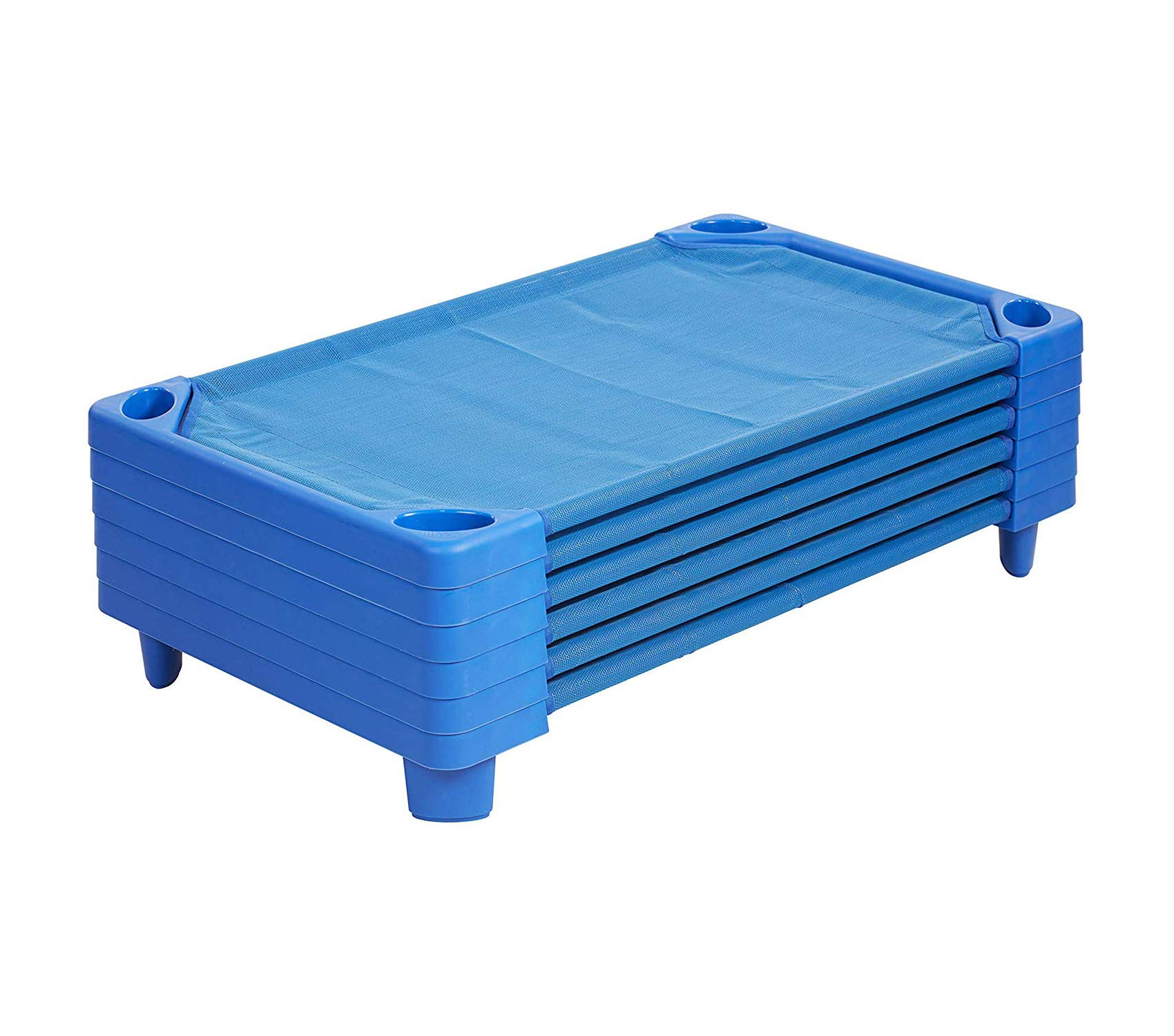 Wood & Style Toddler Naptime Cot Stackable Daycare Sleeping Cot for Kids 40in L x 23in W Ready-to-Assemble Blue Set of 6 Decor Comfy Living Furniture Deluxe Premium Collection by Wood & Style