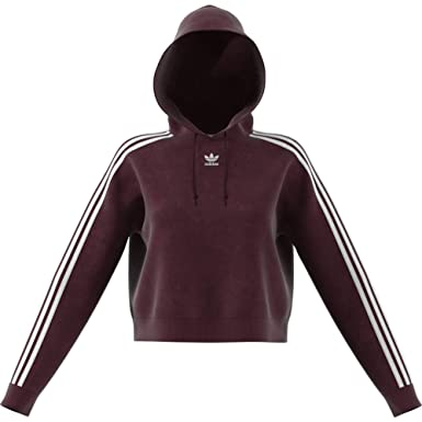 adidas Originals Women's Cropped Velour Hoody Maroon 14 Red