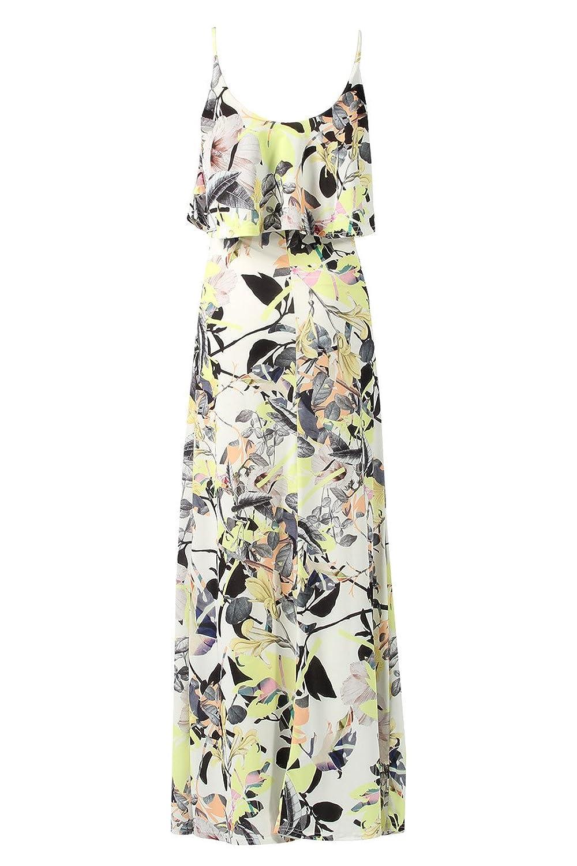 Damen Doppelschicht Blumen Maxi Kleid EUR Größe 36-42: Amazon.de: Bekleidung