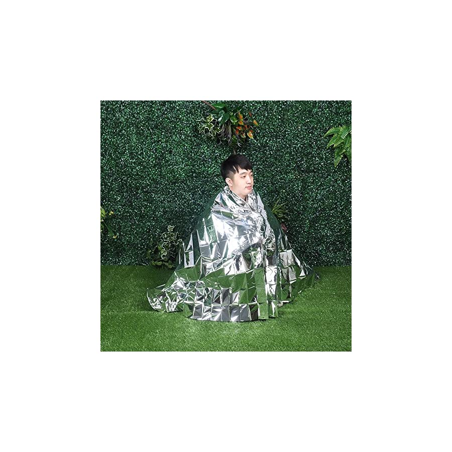 COM4SPORT Emergency Mylar Thermal Blanket Lightweight Waterproof Survival Blanket Perfect for Outdoors Camping Hiking Survival Marathons First Aid 51x82 inch (Silver, Pack of 5)