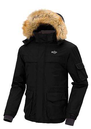 1982c247422 Wantdo Men s Waterproof Rainwear with Faux Fur Collar Snow Coat Black Medium