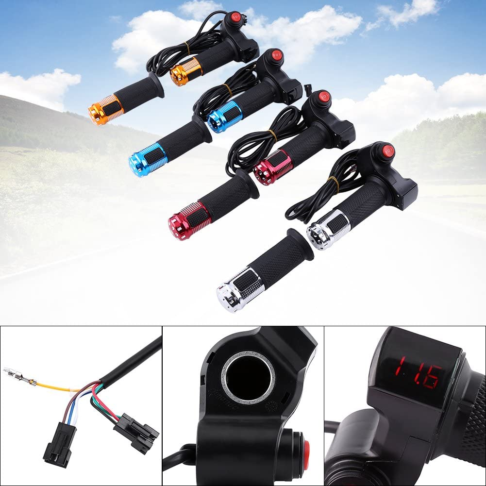Yosoo 3 Gears Speed Switch Bike Grips Cover with LED Display Screen Accelerator Handle for Electric Bicycle