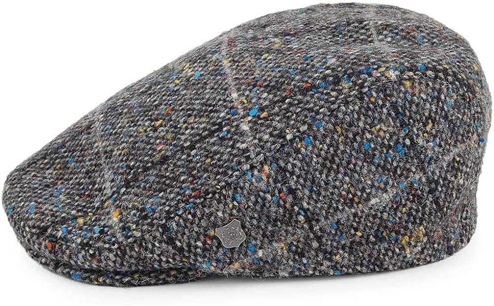 Grey Multi Failsworth Oslo Donegal Tweed Windowpane Flat Cap with Earflaps