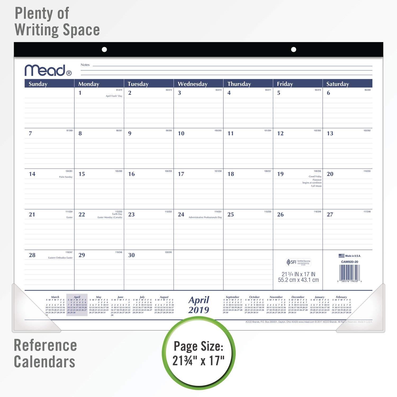 Standard Basic 21-3//4 x 17 CAM92020 Mead 2019-2020 Academic Year Monthly Desk Pad Calendar