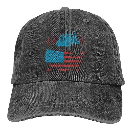 Unisex Baseball Cap Truck Driver Heartbeat Vintage American Flag Summer  Denim Trucker Hat for Men 9d0a78d0750a
