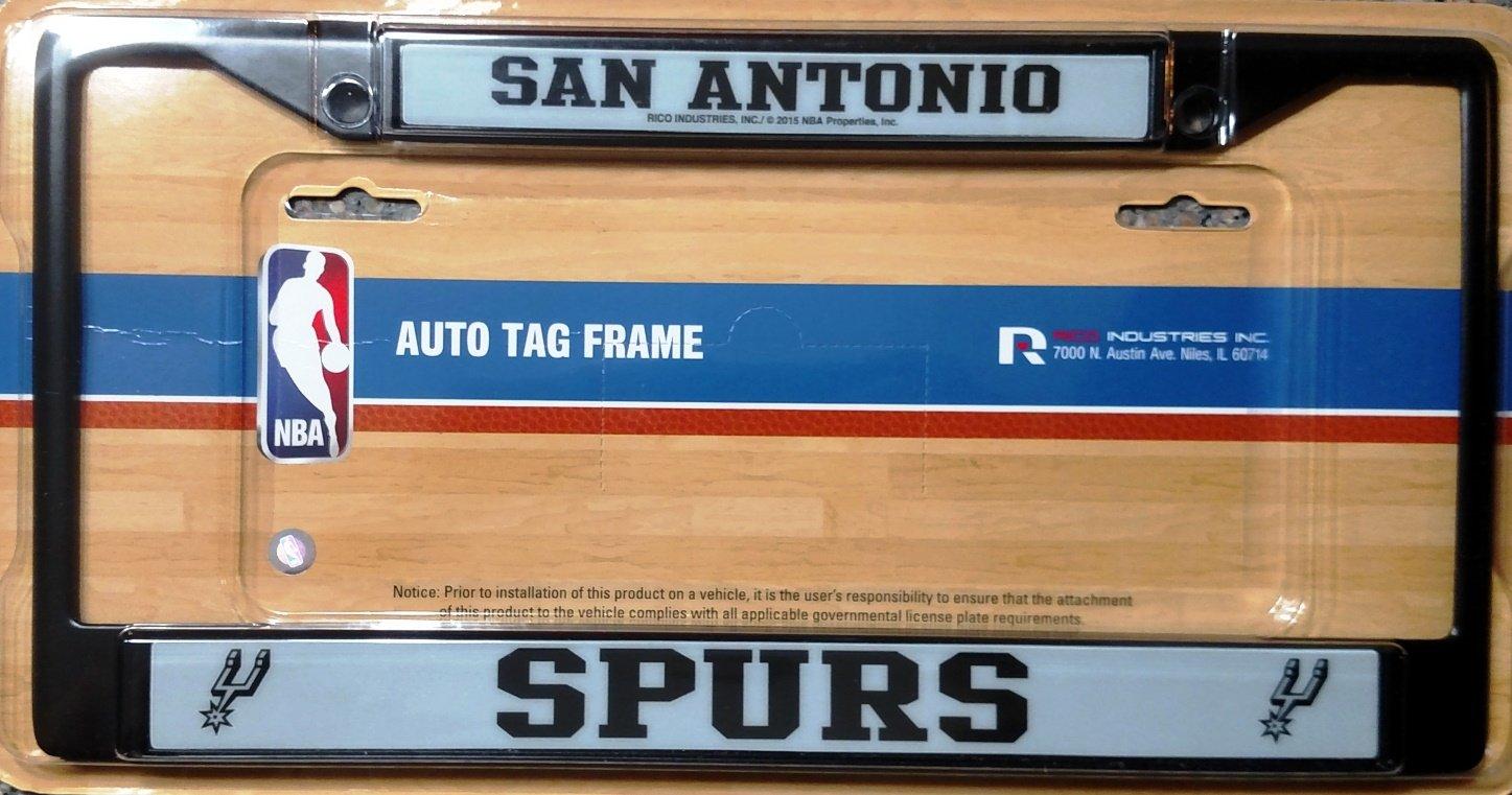 Rico NBA San Antonio Spurs Black License Plate Frame, One Size, Black