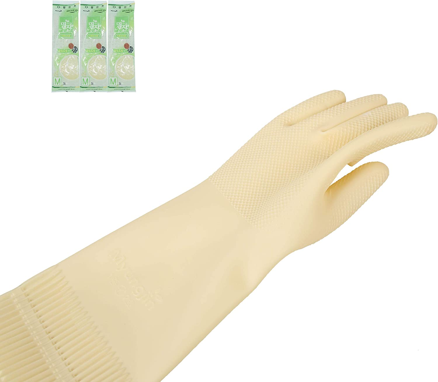 All Natural Latex Rubber Gloves Reusable Durable Medium 3 Pairs No Artificial Coloring Non-Sticky Ideal Household (M)