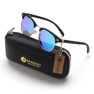 bd5a5f922b9 SKADINO Clubmaster Beech Wood Sunglasses with Polarized Lens-Black Ebony  with Green Mirror