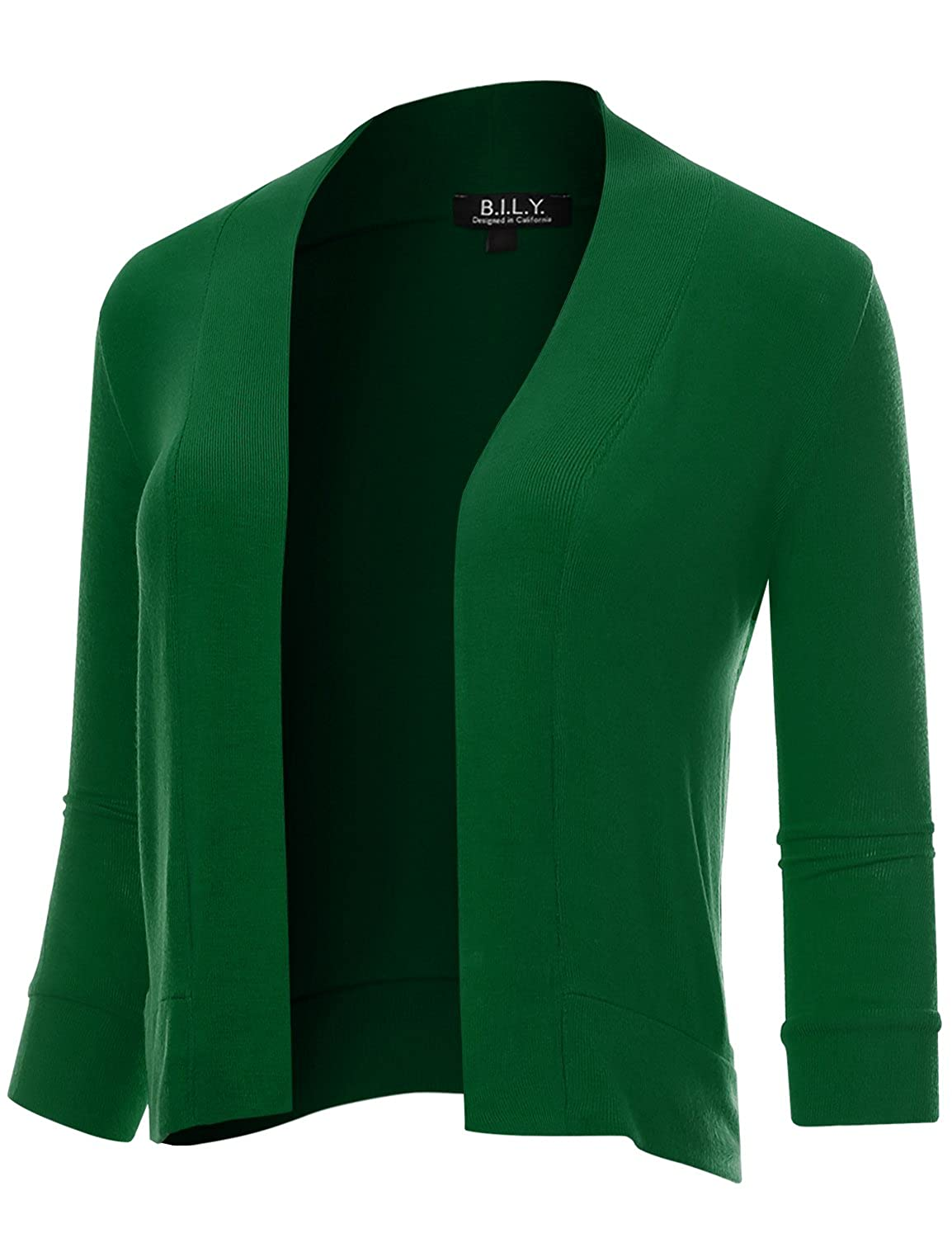 BH B.I.L.Y USA Women's Classic Open Front Cropped 3 4 Sleeve Cardigan Kelly Green XXLarge