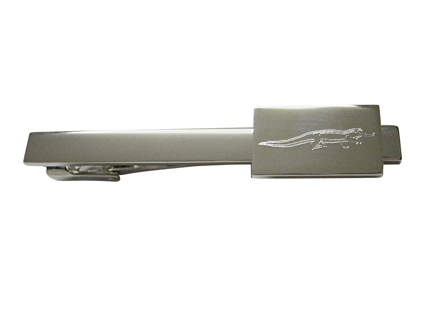 Silver Toned Etched Alligator Square Tie Clip