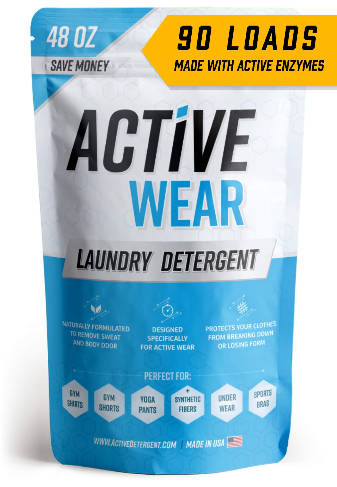 Active Wear Laundry Detergent - Formulated for Sweat and Workout Clothes - Natural Performance Sport-Wash Concentrate - Enzyme Booster Deodorizer - Powder Wash for Activewear Gym Apparel (90 Loads) by ACTIVE Wear Detergent