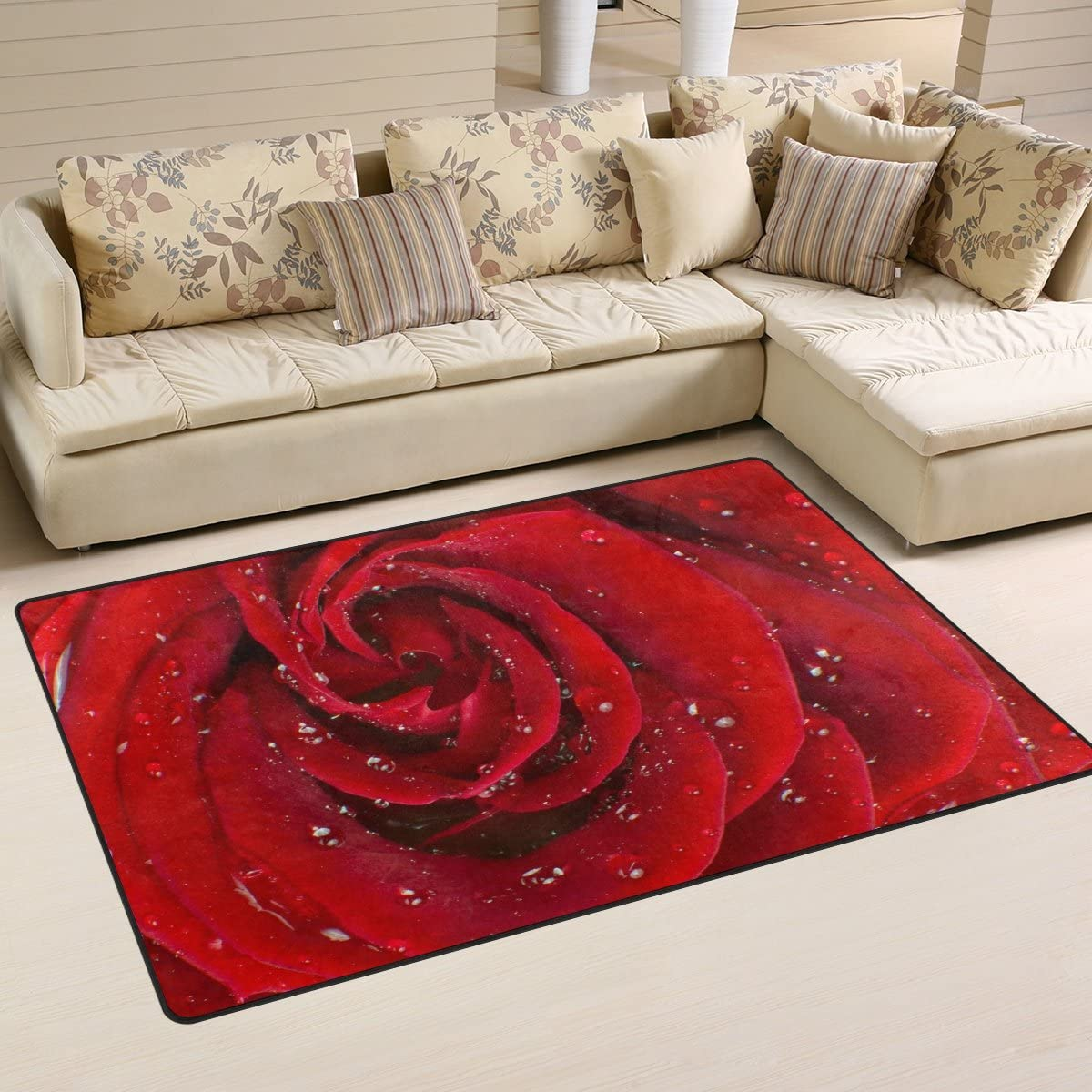 WOZO Red Rose Water Drop Area Rug Rugs Non-Slip Floor Mat Doormats Living Dining Room Bedroom Dorm 60 x 39 inches inches Home Decor