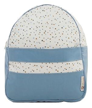 Mochila o bolsa infantil plastificada para colegio o guardería. Modelo little nordic. Topitos azul: Amazon.es: Equipaje