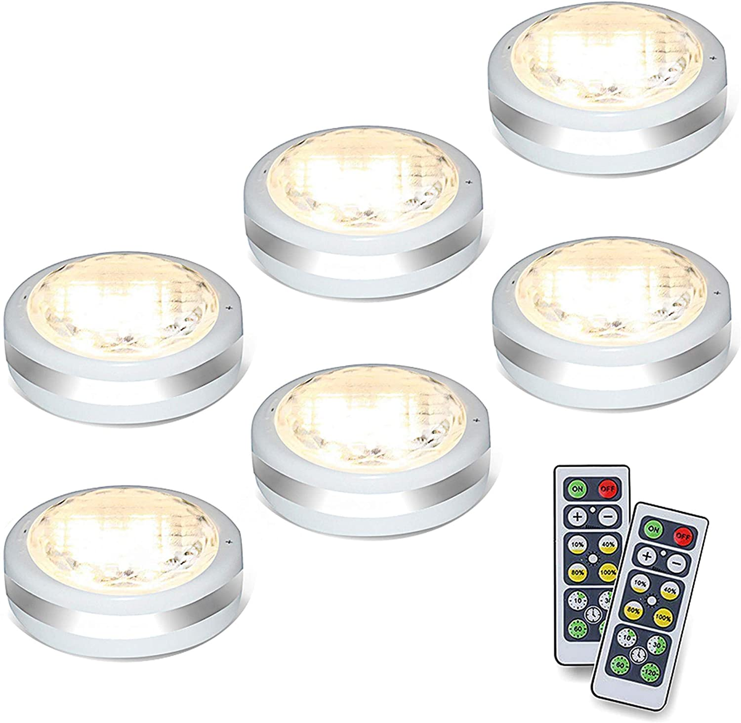 3//6X Wireless LED Puck Lights Closet Under Cabinet Lighting With Remote NEW US