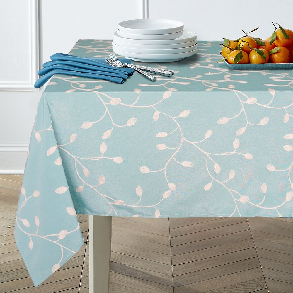 """Lamberia Tablecloth Heavyweight Vintage Burlap Cotton Tablecloths for Rectangle Tables, Seats 6 to 8 People (60""""x84"""", Blue Summer Leaves)"""