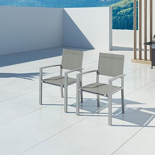 IMS GARDEN Hara-2 sillones Aluminio Plateado textilène Gris ...