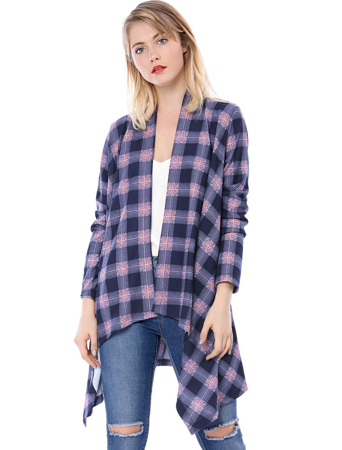 Allegra K Women's Handkerchief Hem Open Front Plaids Cardigan XS Pink