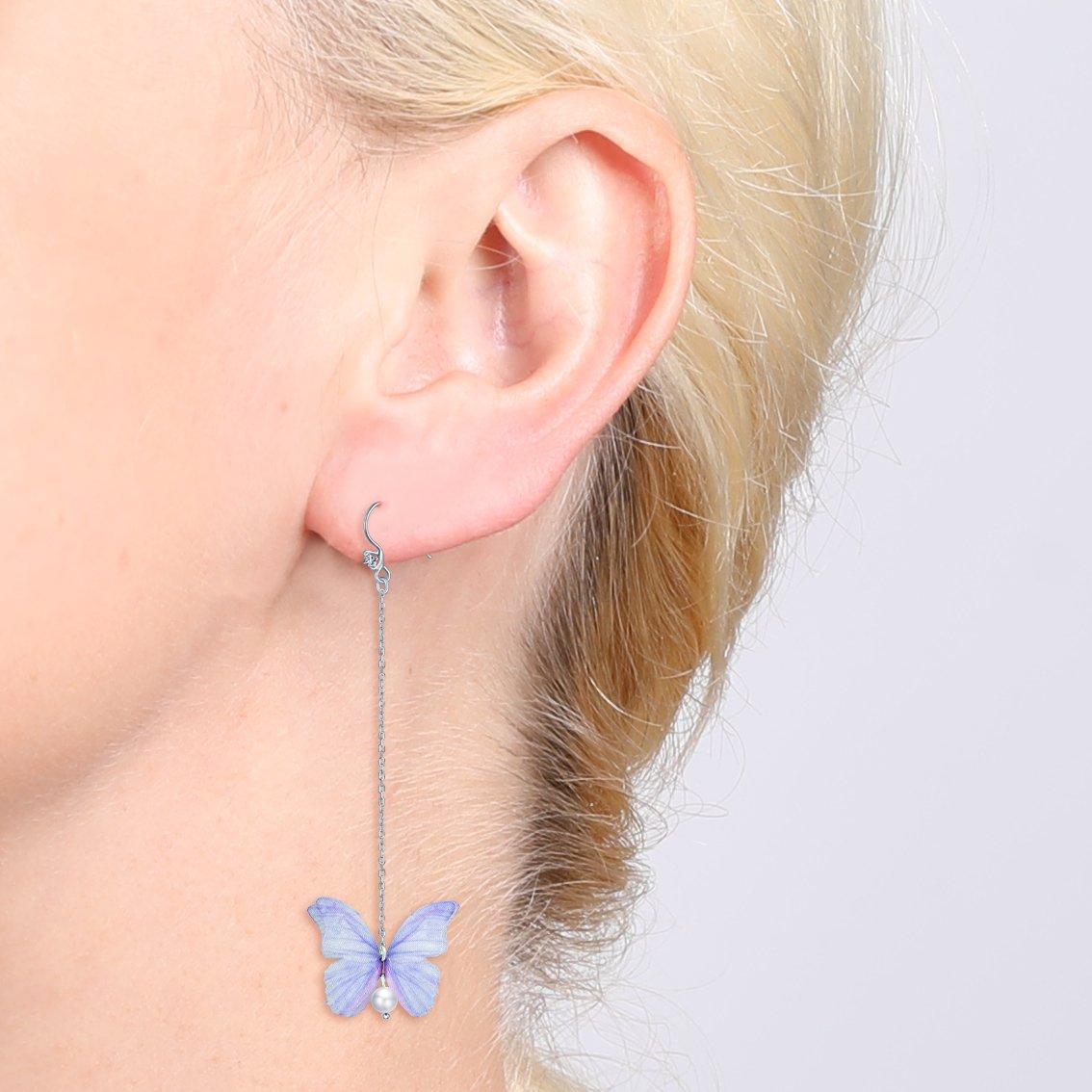 Yumilok Jewelry 925 Sterling Silver Cubic Zirconia Pearls Hypoallergenic Butterfly Dangle Drop Earrings for Girls