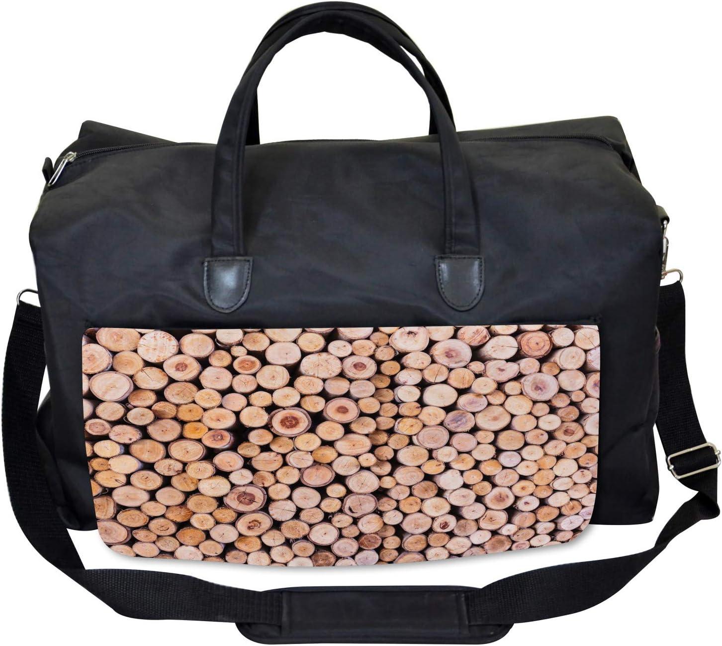 Wooden Lumber Tree Logs Large Weekender Carry-on Ambesonne Rustic Gym Bag