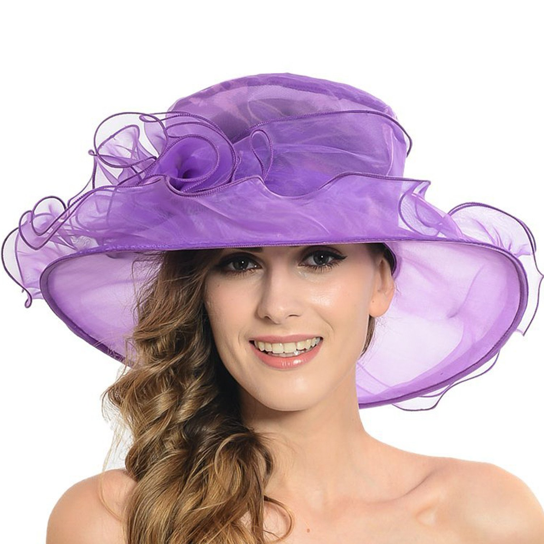 Women's Sheer Wide Brim Sun Party Church Wedding Floral Organza Hat(Purple)