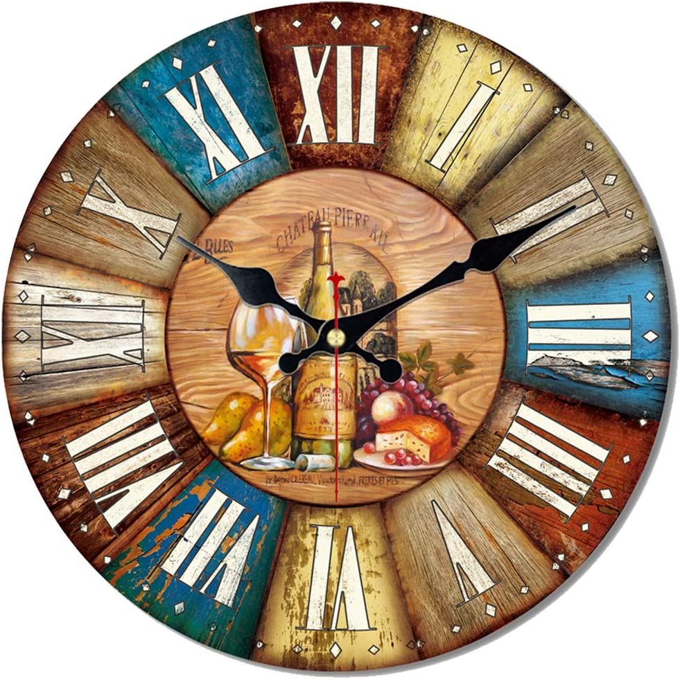 ShuaXin Wooden Large Numerals 12 Inch Colorful Wall Clock,Vintage Antique Wine and Food Design Easy to Read Wall Clocks for Home Decoration,Bar Decor