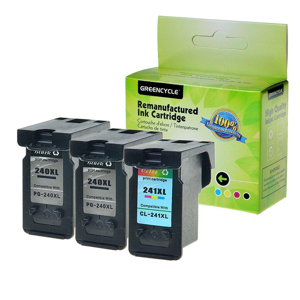 GreencycleリサイクルPG - 240 X L CL - 241 X Lインクカートリッジ(ブラック2 + 1 3色) withインクレベルで使用Pixma mx432 mx439 B01MZ2ANJB