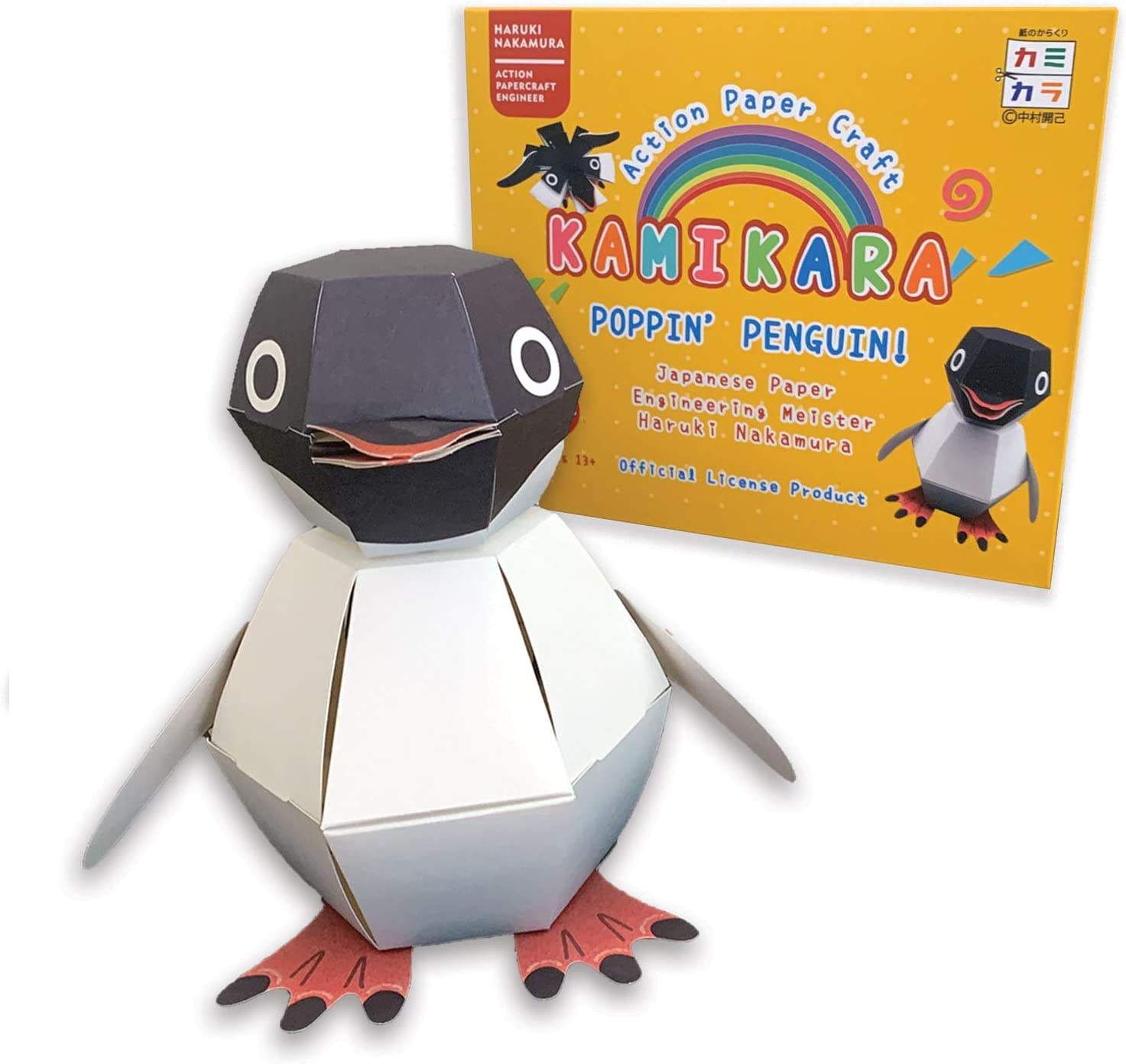 Magnote KAMIKARA Poppin' Penguin by Haruki Nakamura - Japanese Karakuri Circus Origami Paper Craft Kit for Kids and Adults