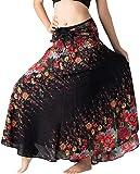 B BANGKOK PANTS Women's Long Boho Maxi Skirt Hippie Clothes Bohemian Asymmetric (Black Flowers, Plus Size)