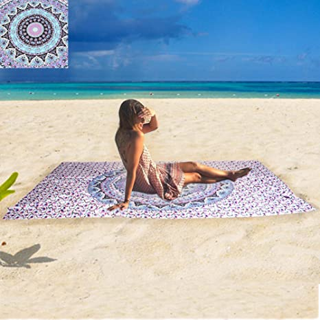 Boho indio Mandala cuadrado, poliéster, playa tapiz manta hippie yoga mat toalla