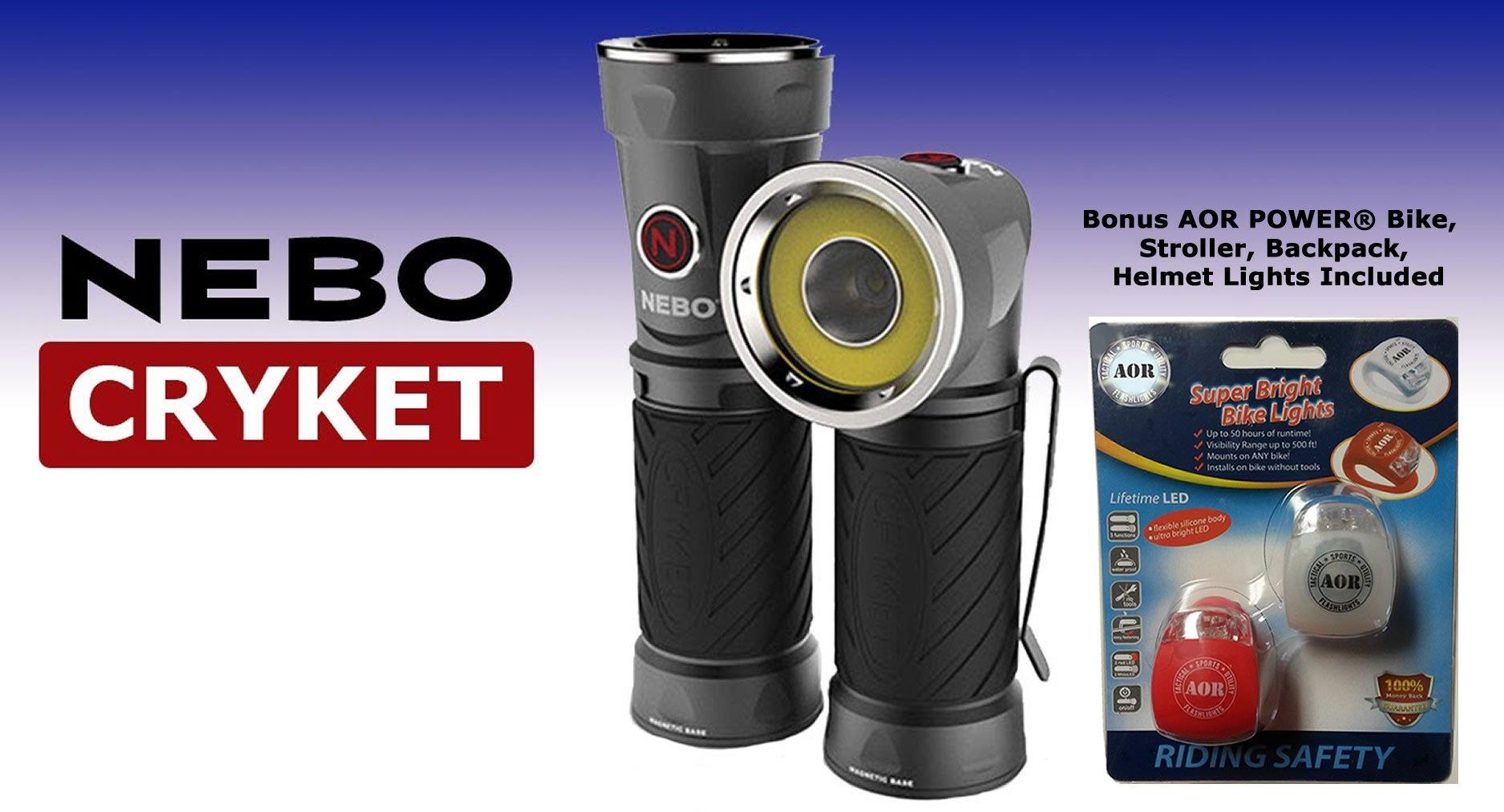 Nebo Cryket 6437 LED 250 Lumen Work Light, Spot Light and Red LED. 9 Position Swivel Head. AOR6437 Bundle includes 3 AA Batteries, and AOR POWER Bike, Stroller, Backpack, Helmet Lights …