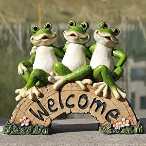 Frog Garden Decor, Garden Ornaments Statue Funny Fairy Ornaments Frog Garden Accessories Outside Decorations Statues Home Decor Sculpture for Lawn Yard Patio