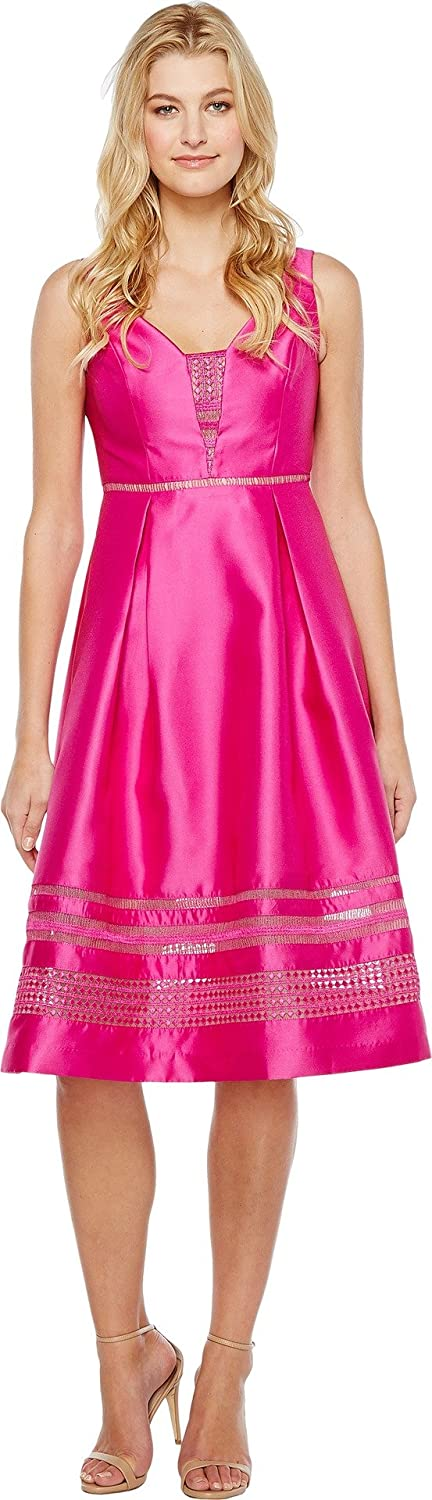 Cool Magenta Adrianna Papell Womens Mikado and Lace Cocktail Dress