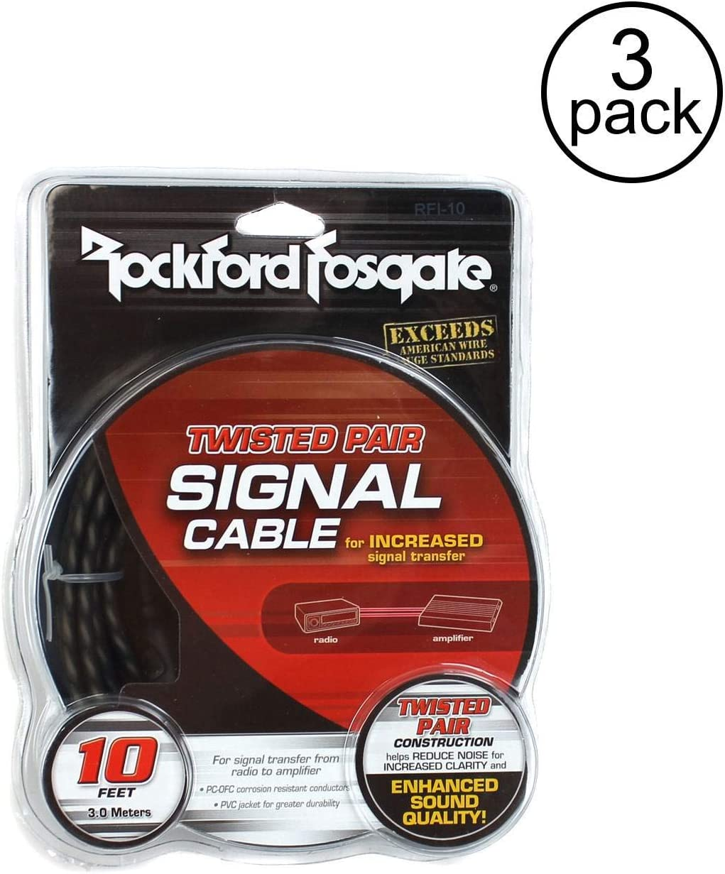 3 Pack Rockford Fosgate RFI-10 10 Twisted 2 Ch RCA Car Audio Signal Cable